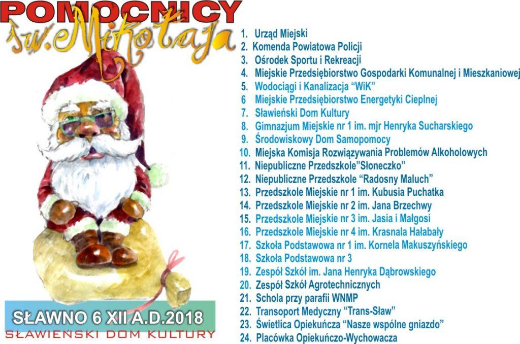 sponsorzy Pomocnicy sw Mikolaja 2018